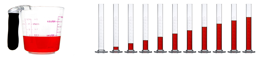 water in measuring glass and cylinders for comparison